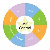 Gun Control Circular Concept With Colors And Star