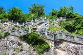 Graz, Stairs To Schlossberg Hill And City Clock Tower Uhrturm, Austria