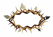 A Crown Of Thorns With Dried Leaves