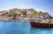 foto of hydra  - A view of the beautiful Greek island Hydra - JPG