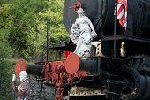 marble sculpture on the old locomotive. Carrara