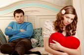 stock photo of love hurts  - Quarrel and hurt two loving home - JPG