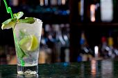 stock photo of mojito  - Mojito cocktail on the background of the bar - JPG