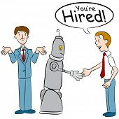 An image of a man losing a job to a robot.