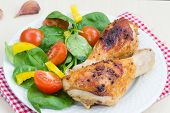Healthy Dinner: Grilled Chicken Legs And Salad