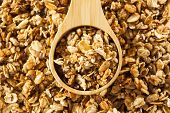 stock photo of flax seed  - Organic Granola Cereal with oats flax almond and sunflower seeds - JPG