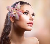 stock photo of yellow orchid  - Beauty Portrait - JPG