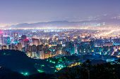 City night scene in Taipei, Taiwan.