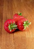 Three strawberries, Fragaria