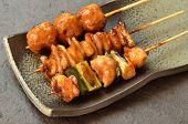Char-broiled chicken called yakitori