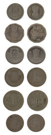 image of asoka  - Indian rupee coins isolated on white - JPG
