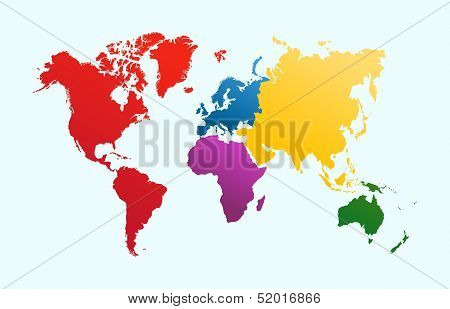World Map, Colorful poster