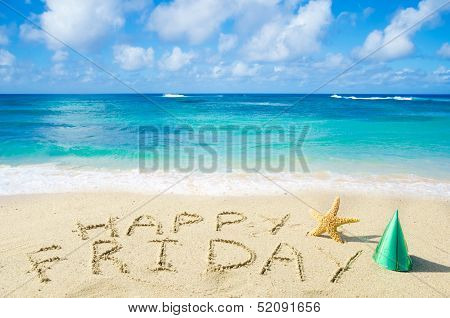 Sign happy Friday On The Sandy Beach poster