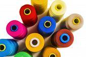 Colored fine thread bobbins