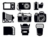 stock photo of megapixel  - vector black photo icons set on white - JPG