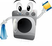stock photo of washing machine  - An Illustration of a Cartoon Washing Machine - JPG