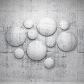 Abstract 3D Architecture Interior Details. Round Concrete Elements On The Wall