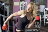 Blond Girl With Red Dumbbell