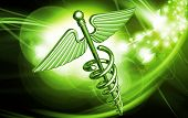 picture of serpent  - Digital illustration of medical symbol in colour background - JPG