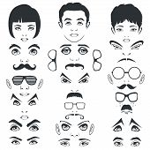 foto of mustache  - collection of face parts - JPG