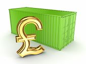 Green container and sign of pound sterling.