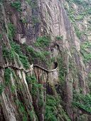 Hazardous Pathway Over The Precipice In Huang Shan, China