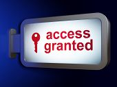 Security concept: Access Granted and Key on billboard background
