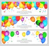 stock photo of confetti  - vector image of event banners with colorful balloons - JPG
