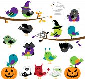 Vector Set of Halloween Themed Cartoon Birds