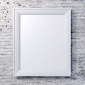 stock photo of wall painting  - blank frame on vintage wall - JPG