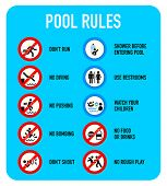 image of unsafe  - Set of typical pool warning and prohibited signs - JPG