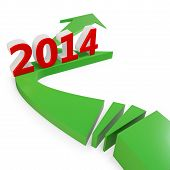 3D Green Arrow With Year 2014