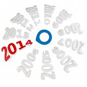 3D Happy New Year 2014 With Blue Selector