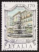 ITALY - CIRCA 1976: a stamp printed in Italy shows Fontana  Madonna Verona, built in the 14th centur
