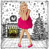 Christmas concept.Vector surprised blonde in pink dress do not know what to buy. All layers well organized and easy to edit