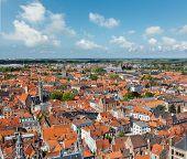 Aerial view of Bruges (Brugge) from Belfry, Belgium