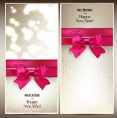 Abstract christmas cards with magenta gift bow and ribbon. Vector illustration.