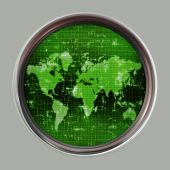 stock photo of sonar  - great image of a world map on a sonar or radar screen - JPG
