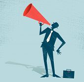 stock photo of speaker  - Vector illustration of Retro styled Businessman shouting at the top of his voice through a loudspeaker megaphone - JPG