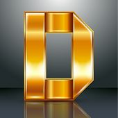 image of letter d  - Font folded from a golden metallic ribbon  - JPG