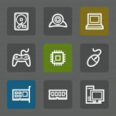 Computer web icons, flat buttons