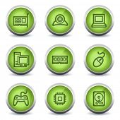 Computer web icons, green glossy set