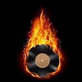 stock photo of fieri  - Burning vinyl record with fiery notes - JPG