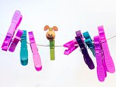 Colorful Character Plastic Pegs On A Line