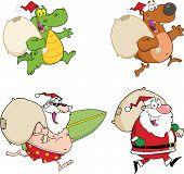 Four Santa Cartoon Characters. Collection Set