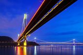 image of hong kong bridge  - Suspension bridge in Hong Kong at night - JPG