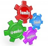 The words Family, Friends, Neighbors and Co-Workers on gears to illustrate a support system of peopl