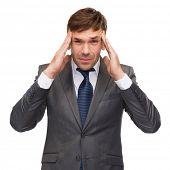 business and office, stress, problem, crisis concept - stressed buisnessman or teacher having headac