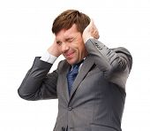 business and office, stress, problem, crisis, loud noise concept - stressed buisnessman or teacher c