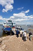 Samara, Russia - May 26: Ferry Across Volga River In Summertime On May 26, 2011 In Samara. Volga Riv